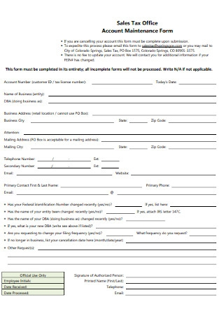 Office Account Maintenance Form