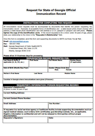 Official Immunization Form Template
