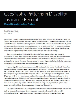 Patterns in Disability Insurance Receipt