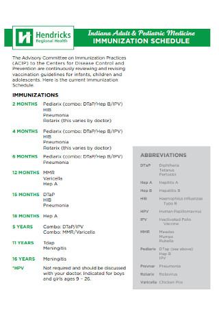 Pediatric Medicine Immunization Schedule