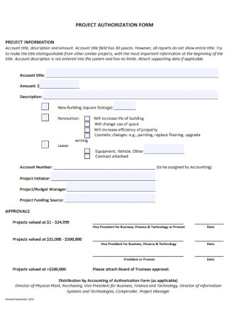 Project Authorization Form