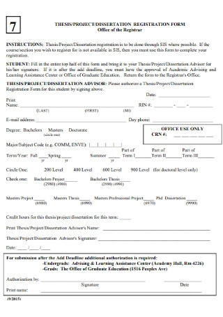 Project Registration Form Template