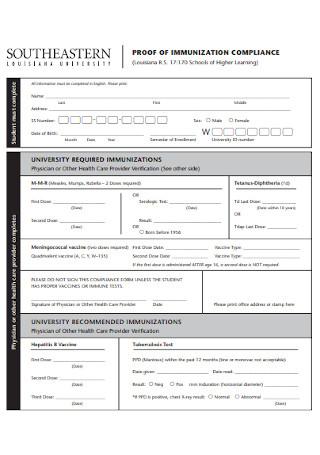 Proof of Immunization Complaince Form