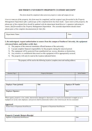 Property Equipment Receipt Template