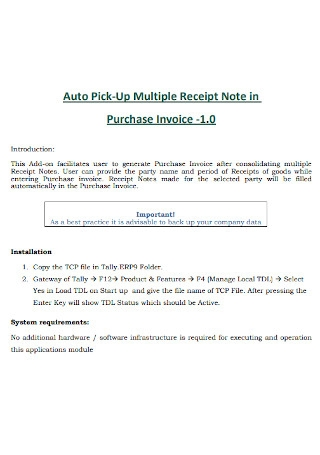 Purchase Invoice Receipt