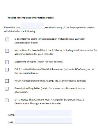 Receipt for Employee Information Packet
