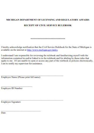 Receipt of Civil Service Template