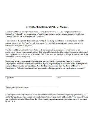 Receipt of Employment Policies Manual