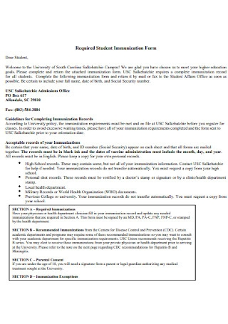 Required Student Immunization Form
