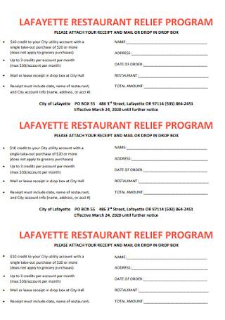 Restaurant Relief Program Receipt