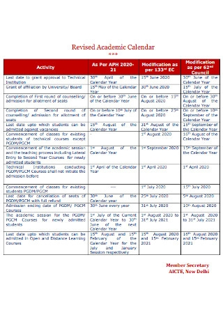 Revised Academic Calendar