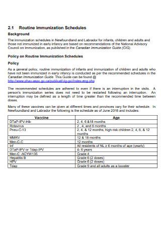 Routine Immunization Schedules Format
