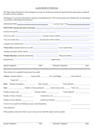 Sales Project Potential Form