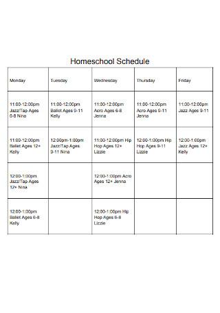 Sample Homeschool Schedule Template