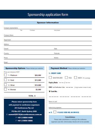 Sample Sponsorship Application Form