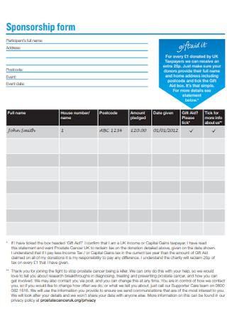 Sample Sponsorship Form Template