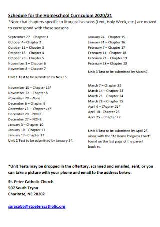Schedule for the Homeschool Curriculum