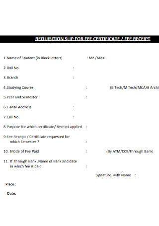 School Certificate and Fee Receipt