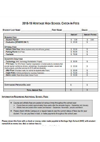 School Check in Fees Receipt