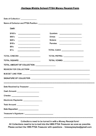 School Money Receipt Form Template