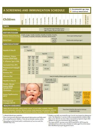 Screening and Immunization Schedule