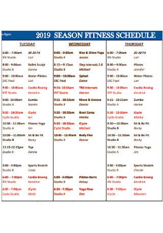 Season Fitness schedule
