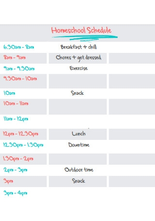 Simple Homeschool Schedule