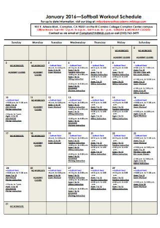 Softball Workout Schedule
