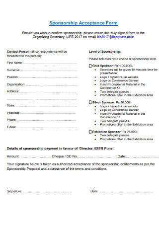 Sponsorship Acceptance Form