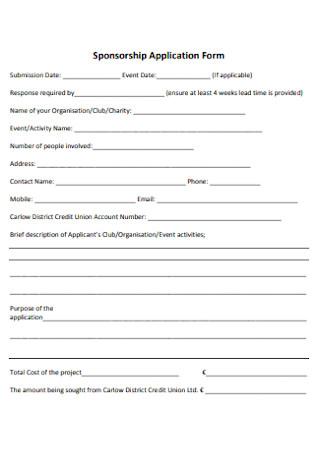 Sponsorship Application Form Template