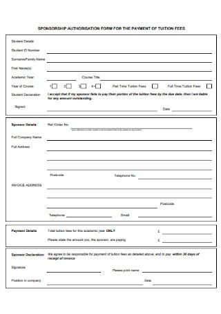 Sponsorship Authorization Form
