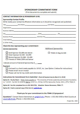 Sponsorship Commitment Form