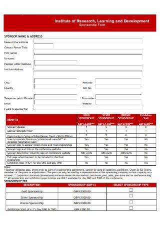 Sponsorship Development Form