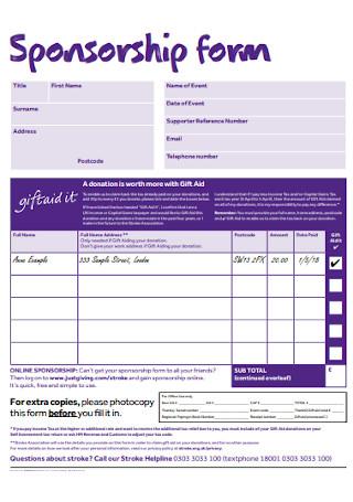 Sponsorship Form Example