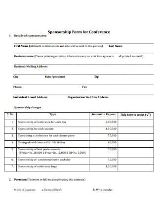 Sponsorship Form for Conference
