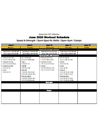 Sports Workout Schedule