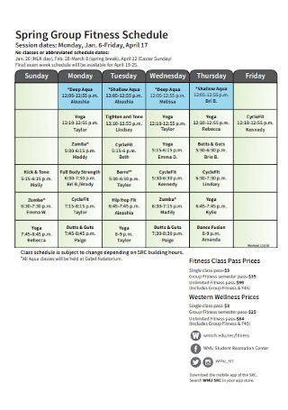 Spring Group Fitness Schedule
