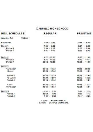Standard High School Schedule