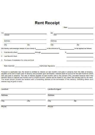 Standard Monthly Rent Receipt