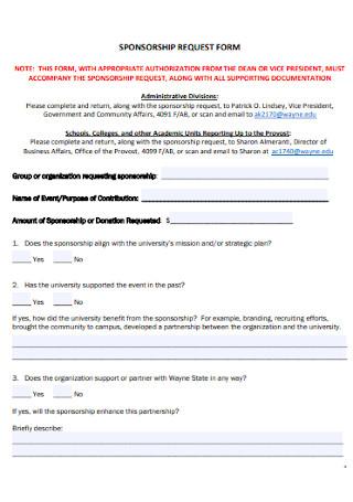 Standard Sponsorship Form Template