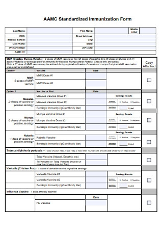 Standardized Immunization Form