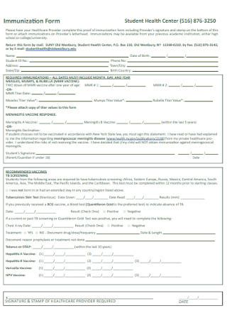 Student Health Immunization Form