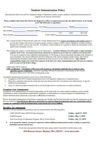 Student Immunization Policy Forma