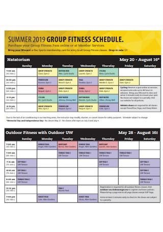 Summer Fitness Schedule Template