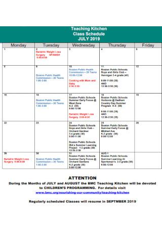 Teaching Kitchen Class Schedule