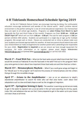 Tidelands Homeschool Schedule