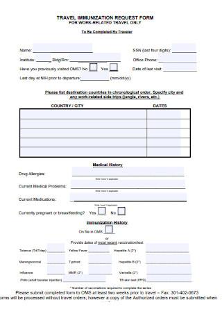 Travel Immunization Request Form