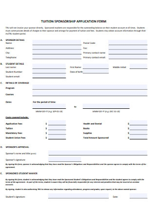 Tution Sponsorship Application Form