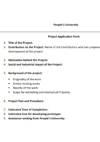 University Project Application Form