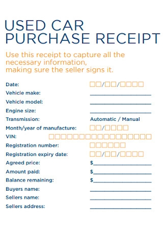 Used Car Purchase Receipt Template